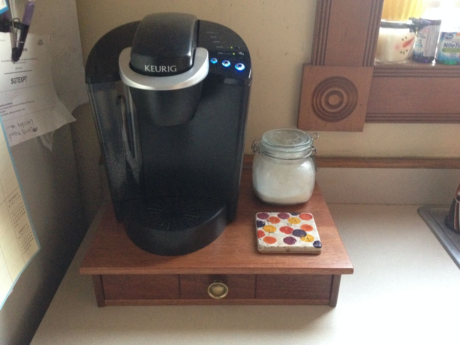 Hand Made Coffee Maker Stand With Keurig K Cup Drawer By
