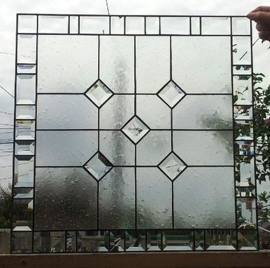 "Custom Made Stained Glass Window - ""Central Diamonds"" (W-56)"