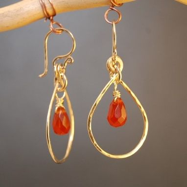 Custom Made Carnelian Drop Hoops
