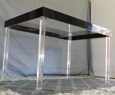 Custom Made Acrylic Parsons Style Dining Table.  Hand Crated And Made To Order