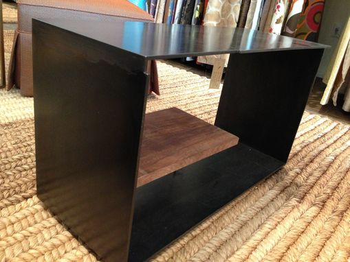 Custom Made Szk Metals 'Siv2' Modern Metal Coffee Table Console W/ Wood Shelf