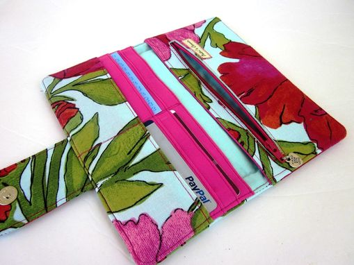 Custom Made Handmade Women Wallet Beautiful Large Red And Pink Poppy