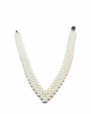 Custom Made White Pearl And Crystal Bridal Necklace