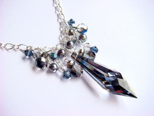 Custom Made Chandelier Blue Swarovski Statement Necklace