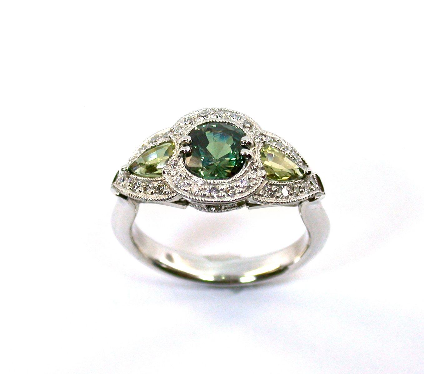 Custommade Diamond: Custom Made Alexanderite, Sapphire & Diamond Ring By J