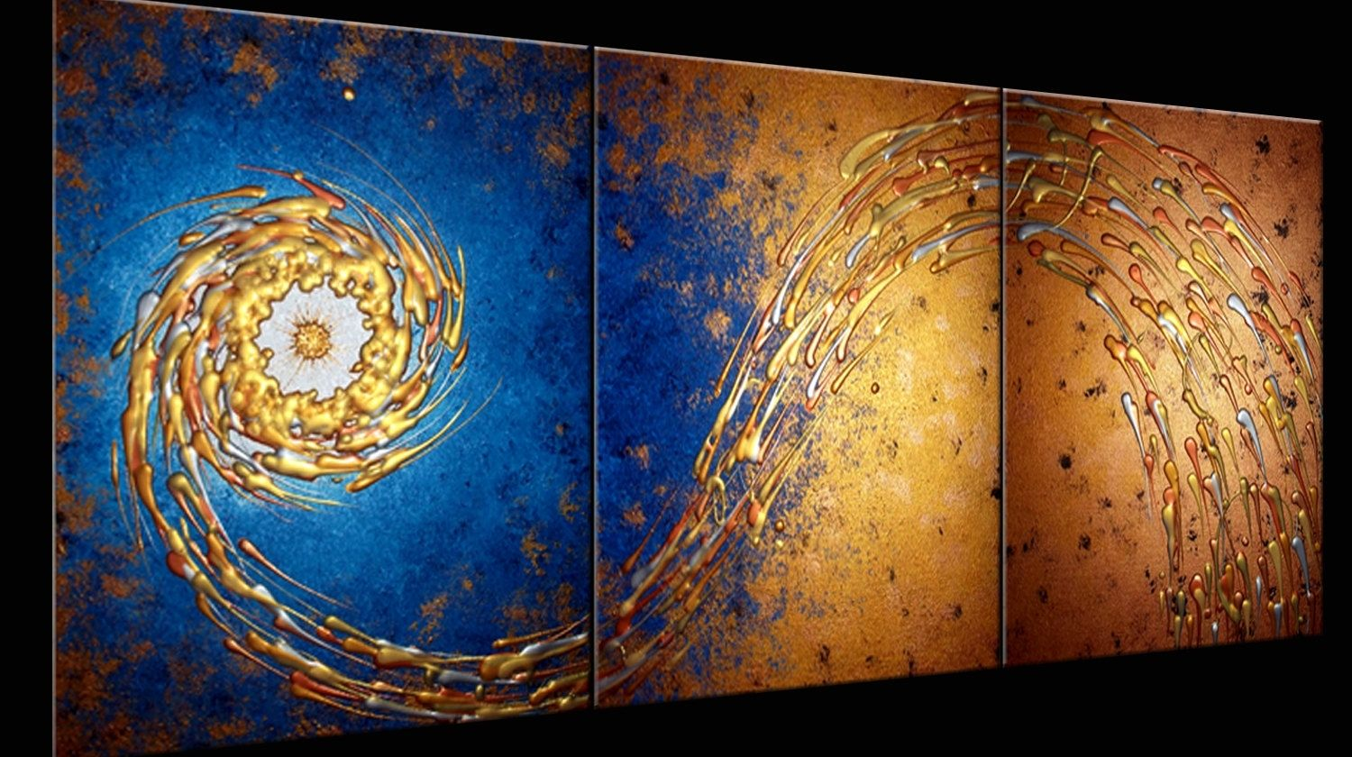 Custom Made Original Painting Contemporary Abstract Art Blue Gold Night Star Textured Paintings