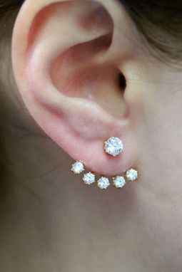 Custom Made Diamond Crystal Ear Jacket - Ear Cuff Earrings