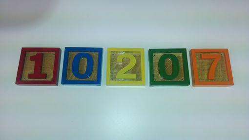 Custom Made House Numbers In Kid's Building Block Style