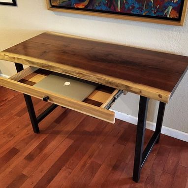 Custom Made Live Edge Walnut Entry Table With Drawer