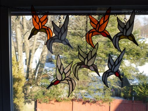 Custom Made Iridescent Stained Glass Ruby-Throated Hummingbird In Bright Colors