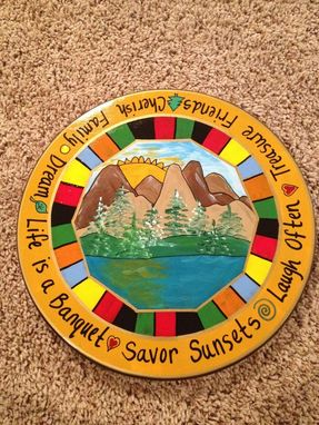 "Custom Made Painted 15"" Inch Lazy Susan Turntable//Mountain Lake Lazy Susan"