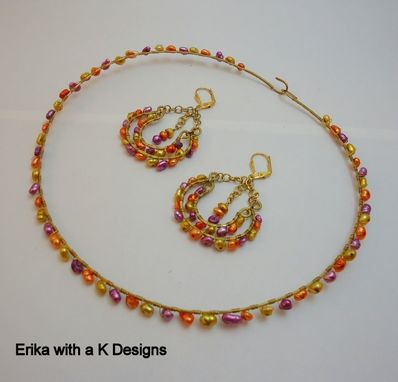Custom Made Wirework Yellow, Purple, And Orange Earrings