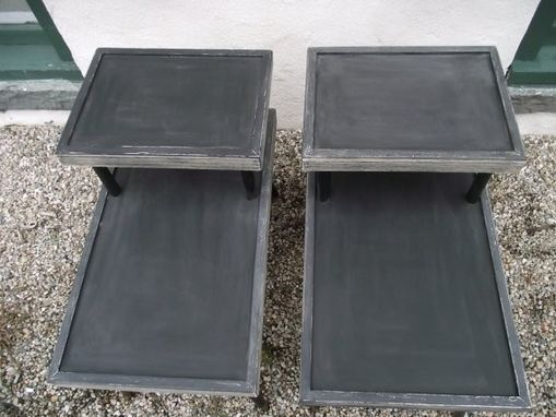 Custom Made Mid Century End Table Set, 2 Tier, Iconic Design, Restored, Restyled, Reinvented, Grey, White And Blackfrom Bmadenew