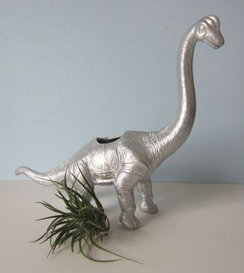 Custom Made Upcycled Dinosaur Planter - Extra Large Silver Brontosaurus With Air Plant
