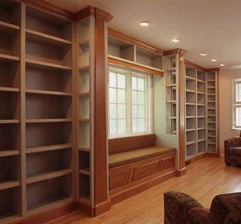 Custom Made Home Library With Window Seat