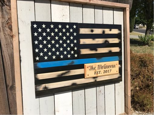 Custom Made Thin Blue Line Flag With Family Est Year