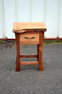 Custom Made Live Edge Elm And Walnut Nightghtstand