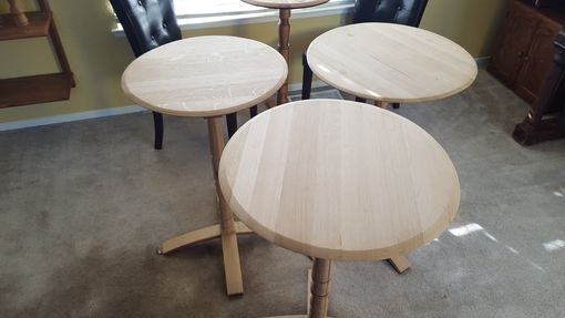Custom Made Wine Barrel Pedestal Accent Table