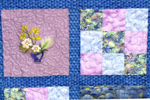 Custom Made Custom Made Asian Floral Throw Quilt With Embroidered Flowers