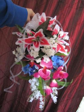 Custom Made Tropical Stargazers & Orchids Pink & Blue Theme Bridal Bouquet Wedding Flower Pacakge