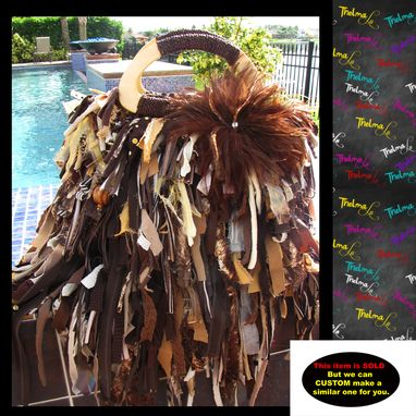 Custom Made Feathered Fringe Handbag,Brown,Gold,Beige Tone,Rhinestone Feather Flower,Custom Made,Purse