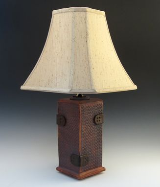 Custom Made Brown Table Lamp Reminiscent Of A Steamer Trunk