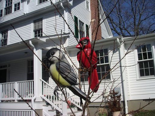 Custom Made Cardinal And Chickadee--Garden Ornaments
