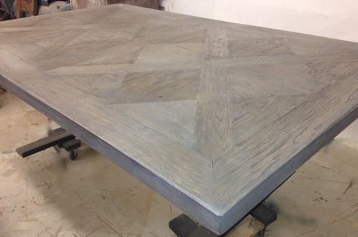 Custom Made Parquet Design Dining Table With Metal Base