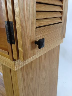 Custom Made Media Cabinet With Louver Doors