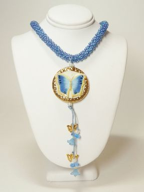 Custom Made Blue Butterfly Kumihimo Necklace