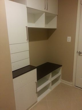 Custom Made Mudroom With Cabinets