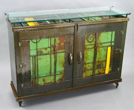 Custom Made Buffet Media Cabinet :: Console :: Contemporary Metal Sculptural Furniture, Dining, Living Room, Media, Entertainment