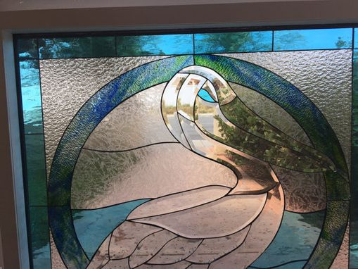 Custom Made Ready To Ship! All Clear Beveled Pelican Stained Glass Window #S14