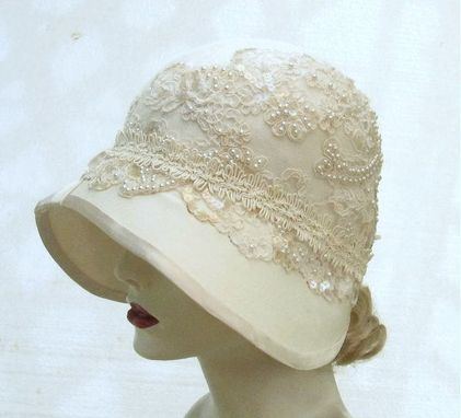 Handmade Vintage Style Buckram Ivory Cloche Wedding Hat by Gail's