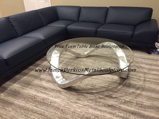 Custom Made Free Wave Table Base Sculpture With Glass Top