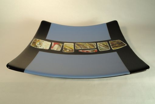 Custom Made Decorative Glass Platter With Cast Glass Inclusions