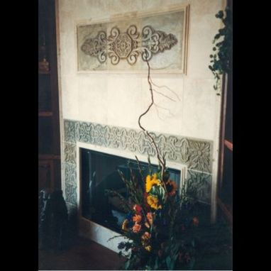 Custom Made Carved Slate Fireplace Surround And Panel