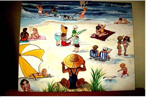 Custom Made Original Painting On Masonite Titled: Florida Beach 2009