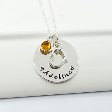 Custom Made Floating Heart Personalized Necklace With Birthstones