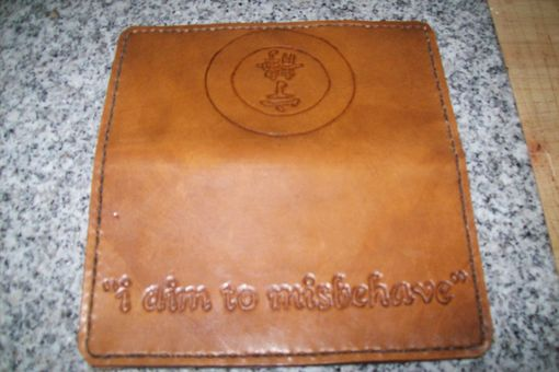 Custom Made Custom Leather Biker Wallet With Serenity Symbol And Quote