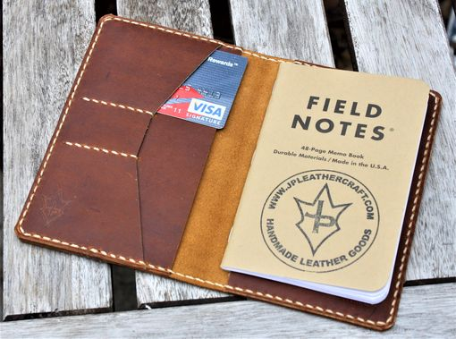 Custom Made Handmade Cover For Field Notes Card Wallet Scribo Thoroughbred Leather Sunset Oil Tan Cream