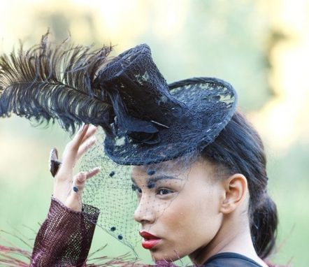 Custom Made Lace Top Hat With Feather