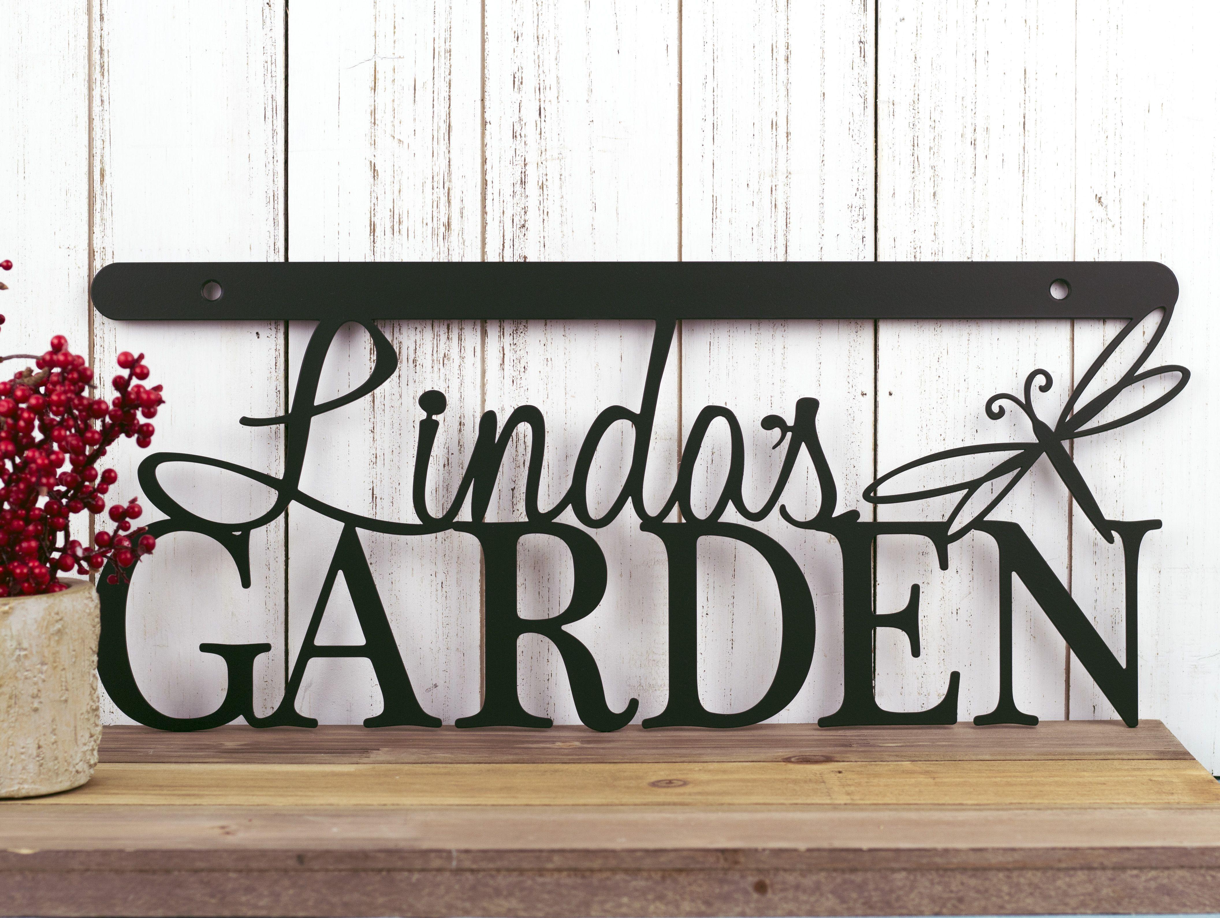 Metal garden wall art - Custom Made Garden Name Metal Wall Art Dragonfly 18 X 8