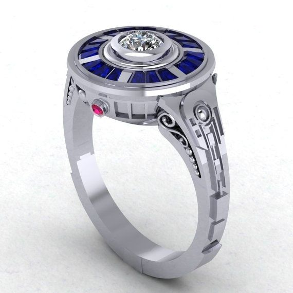 custom made r2d2 impressions in 14 karat white gold engagement wedding ring - White Gold Wedding Rings