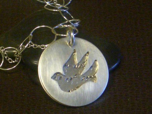 Custom Made Layered Sterling Silver Dove Pendant
