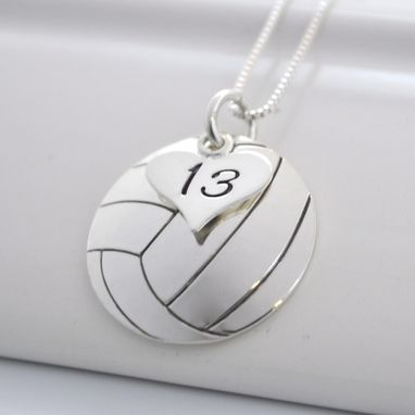 Custom Made Hand Stamped Volleyball Necklace