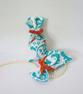 Custom Made Handmade Teal Damask Fabric Favor Bag For Parties