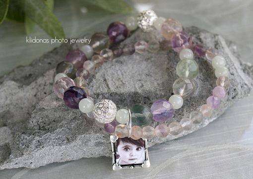 Custom Made Photo Charm Bracelet With Rainbow Fluorite And Sea Jade