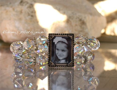 Custom Made Photo Bracelet With Clear Swarovski Crystals And Silver Spacers