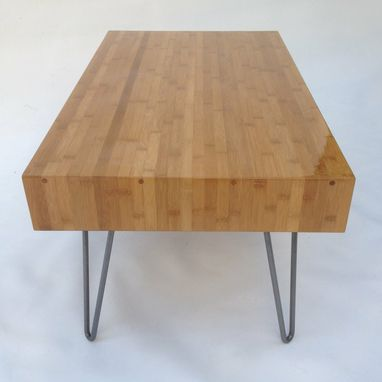 Custom Made Mid Century Modern Bamboo Entry Bench / Hall Table / Coffee Table